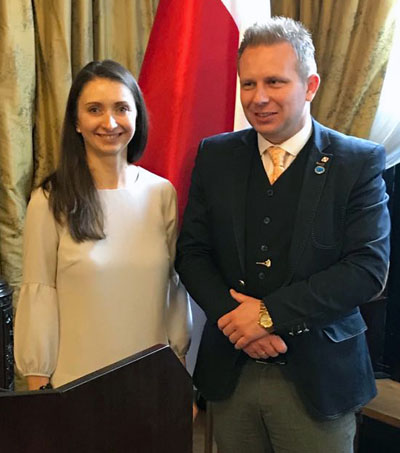 Agnieszka Brissey from the USA, The Józef Piłsudski Institute of America, pictured with the After Brexit Support Managing Director Tomasz Wisniewski.