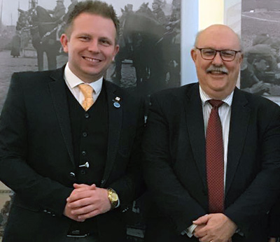 Dr Paul Latawski, Department of War Studies pictured with the After Brexit Support Managing Director Tomasz Wisniewski.